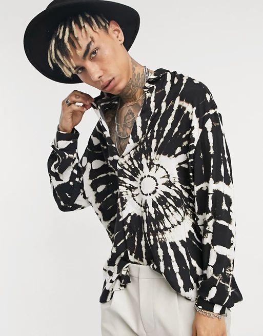 black tie dye print shirt