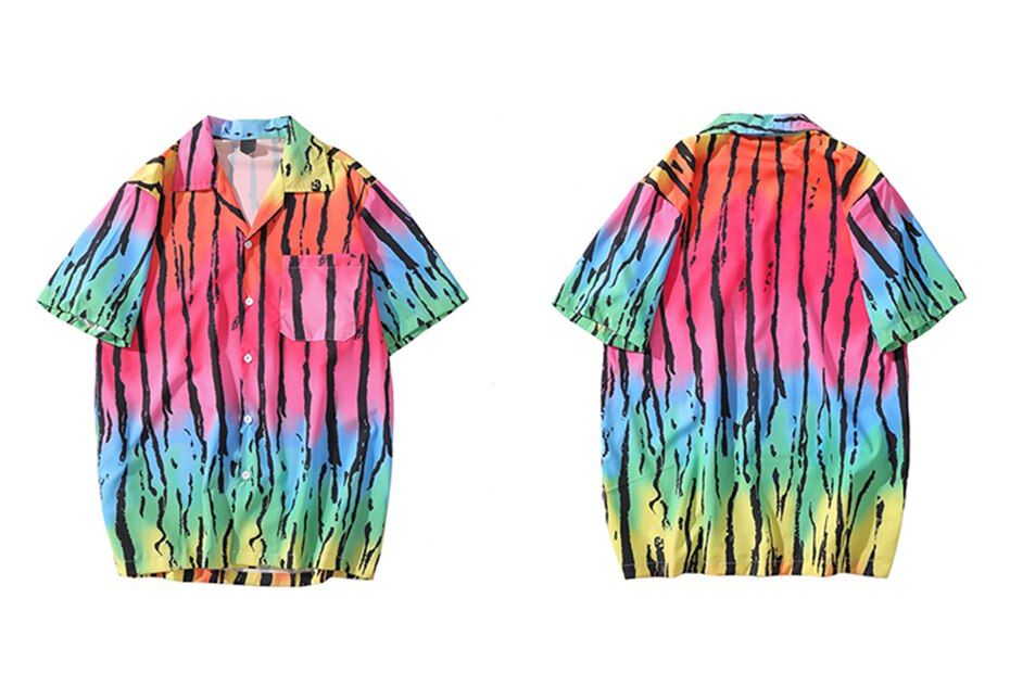 Shirt Tie Dye Rainbow Black Stripe Shirts Short Sleeve