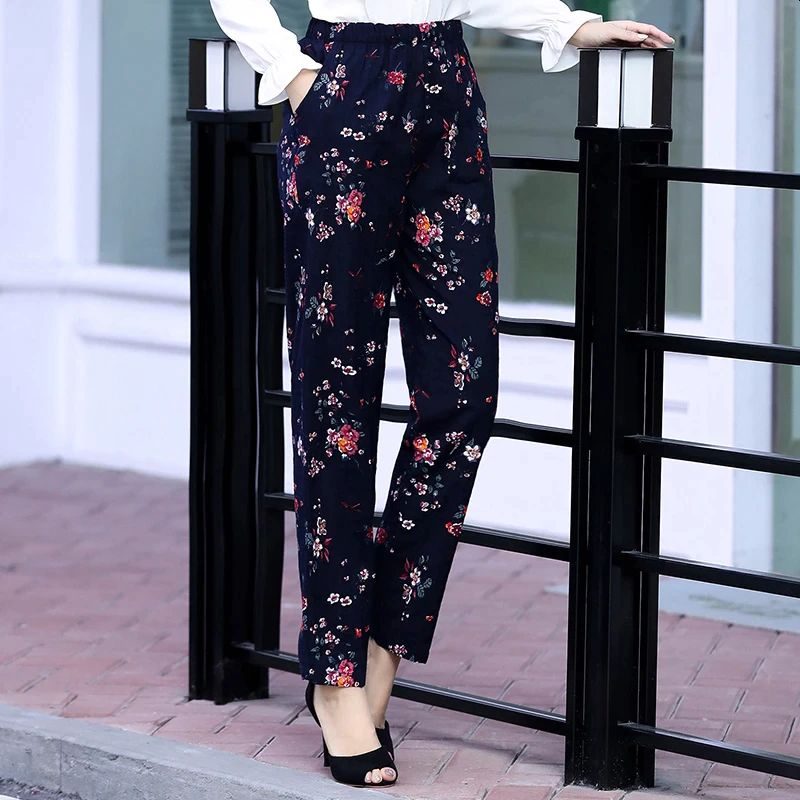 Women Pants Beach Wear Floral Print Plaid Pants