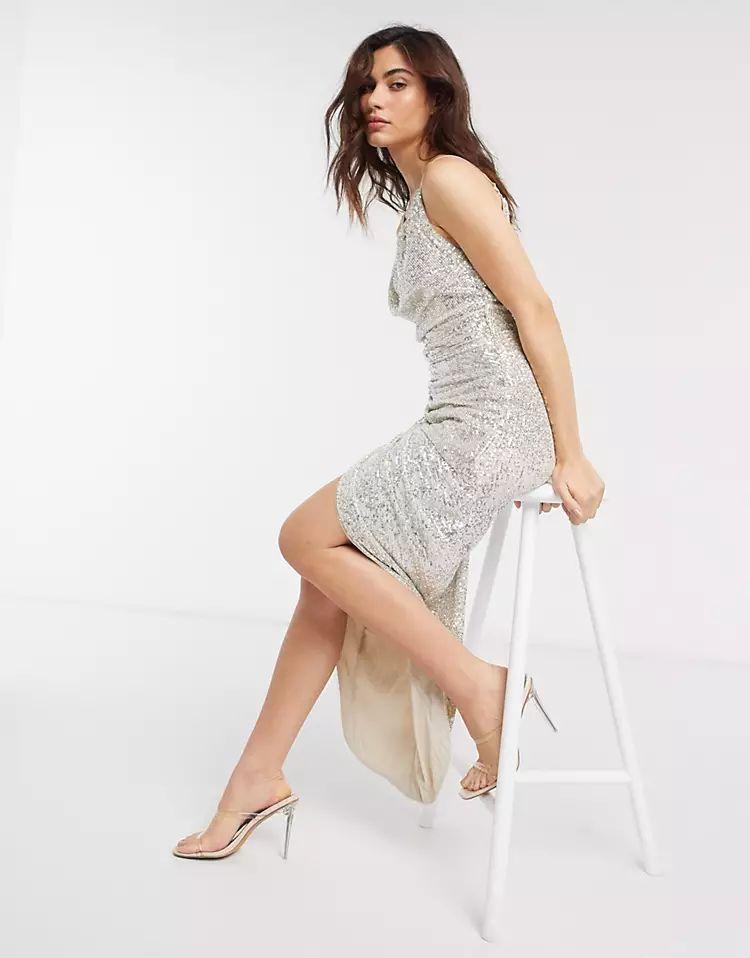 TFNC sequin embellished cowl maxi dress