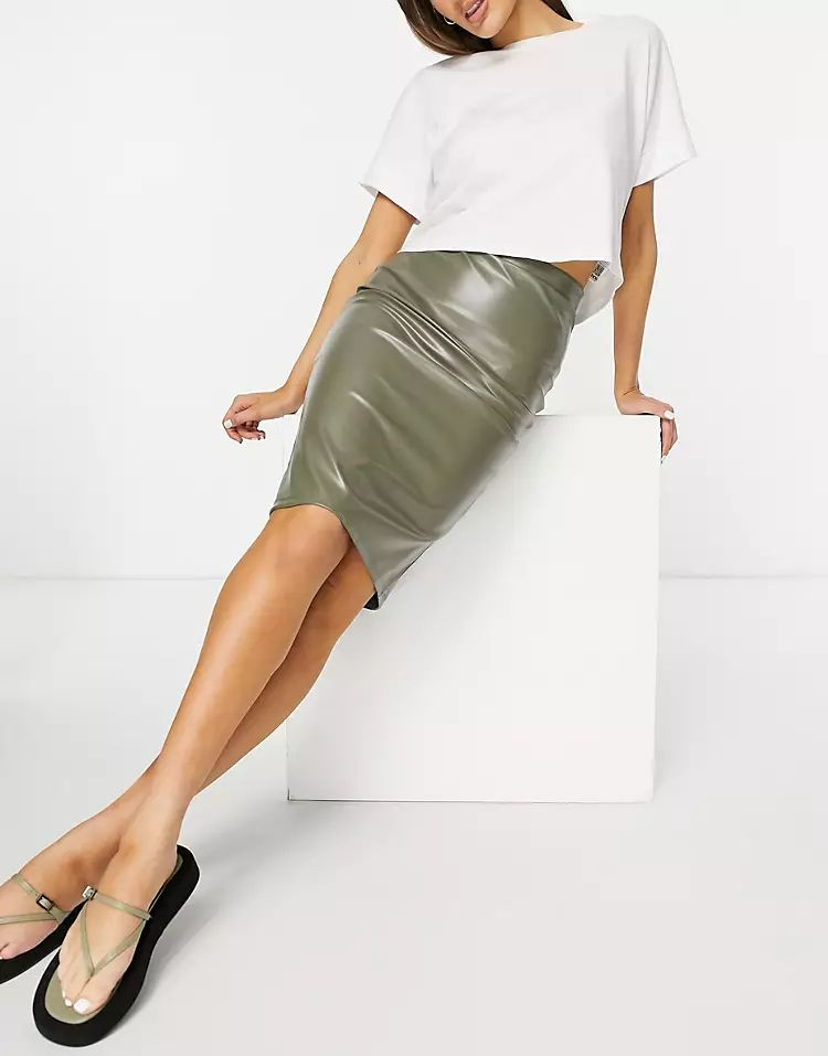 leather look midi pencil skirt in olive