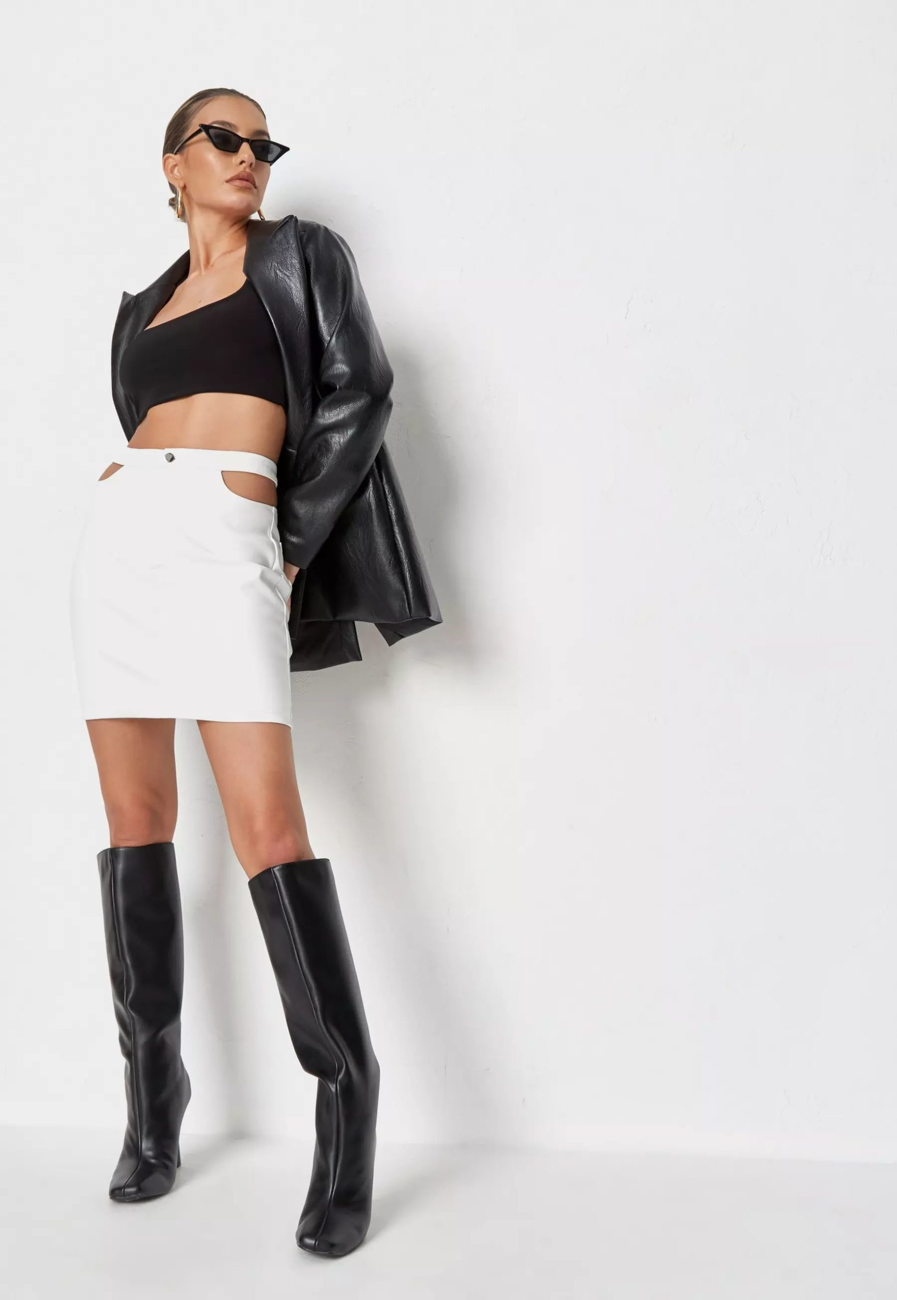 white faux leather cut out detail mini skirt