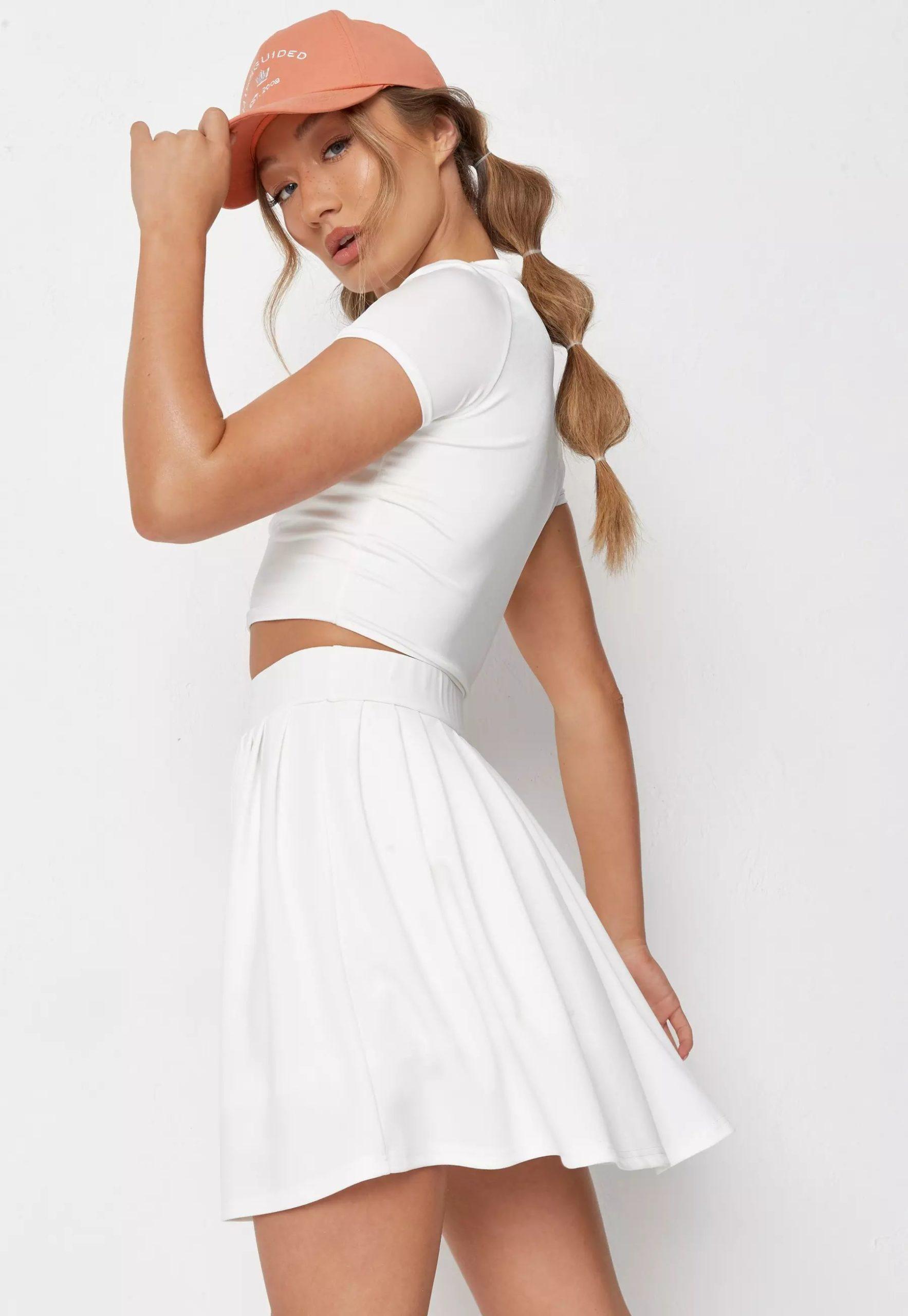 white basic pleated tennis mini skirt