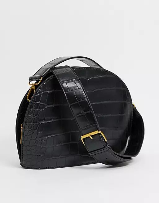 large croc half moon cross body bag in black