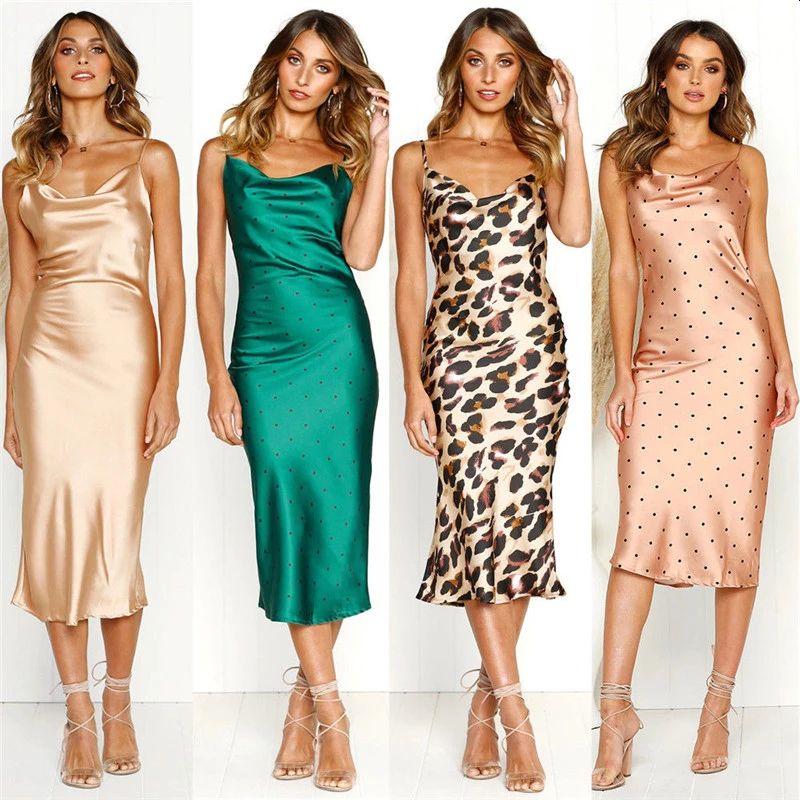 Silk Satin Mid-Calf Dresses