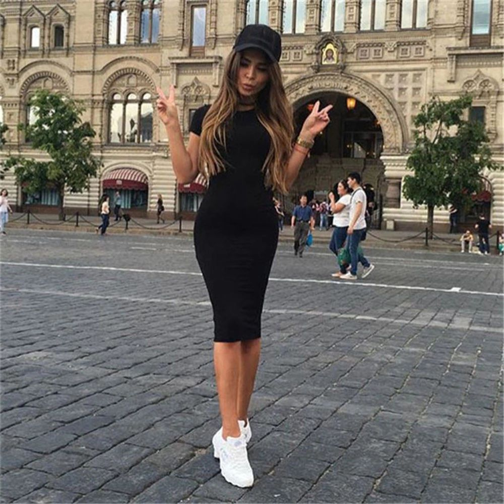 Long Sleeve Slim Body con Dress Tunic Round Neck Casual Pencil Dress