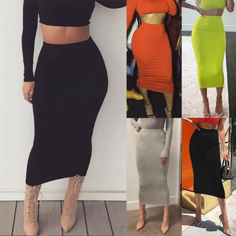 Womens Midi Pencil Skirt Ladies Plus Size Tube Skirt