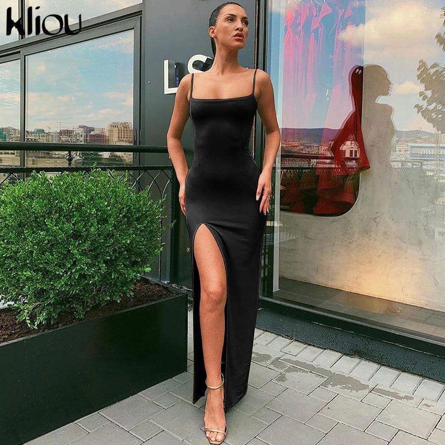 sleeveless slit sexy maxi dress