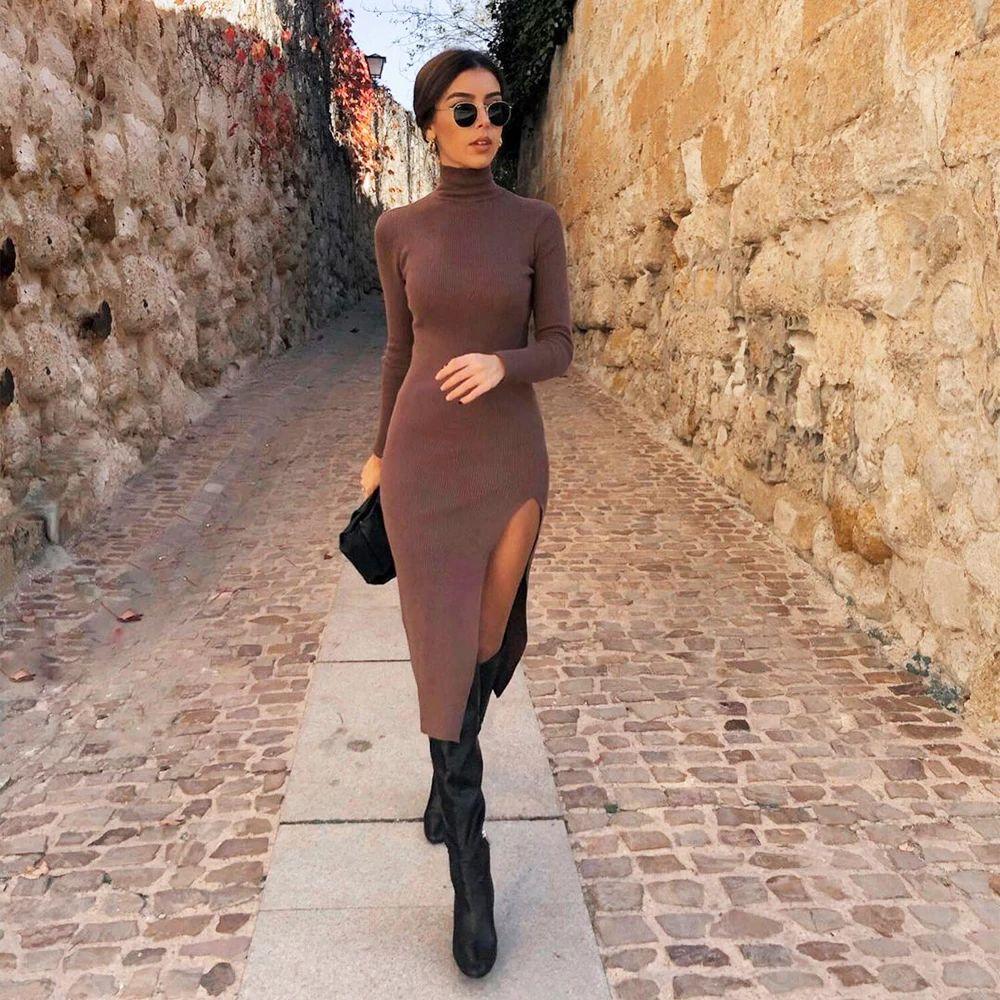 Women Knit Sweater Dress Long Sleeves High-Neck Elastic Midi Dress