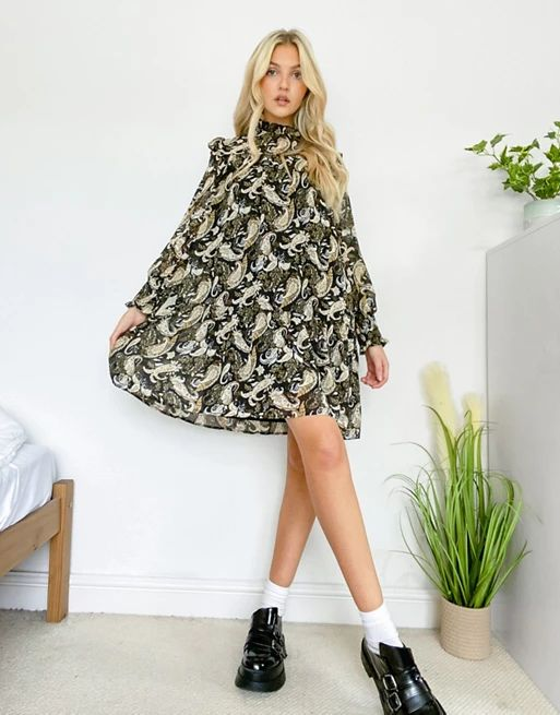 mini smock dress with shirred neck in paisley print