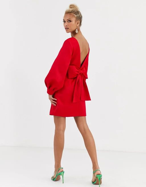 Forever New bow back mini dress in red