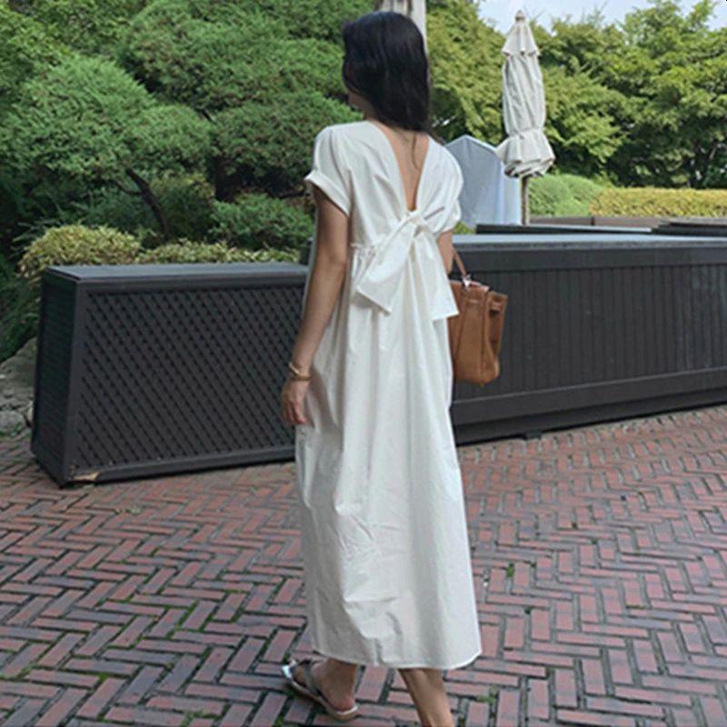 White Back Bow Mid-length Dress