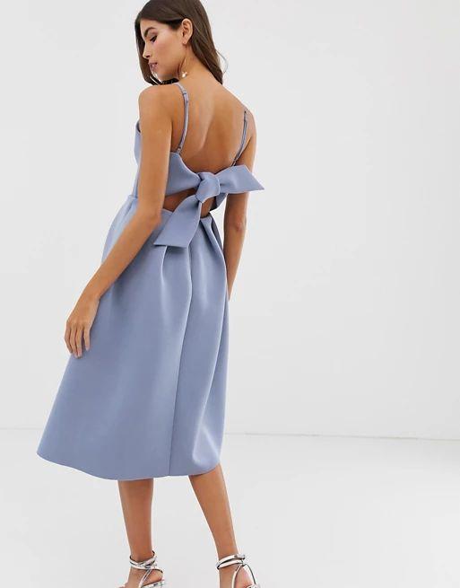 bow back midi prom dress
