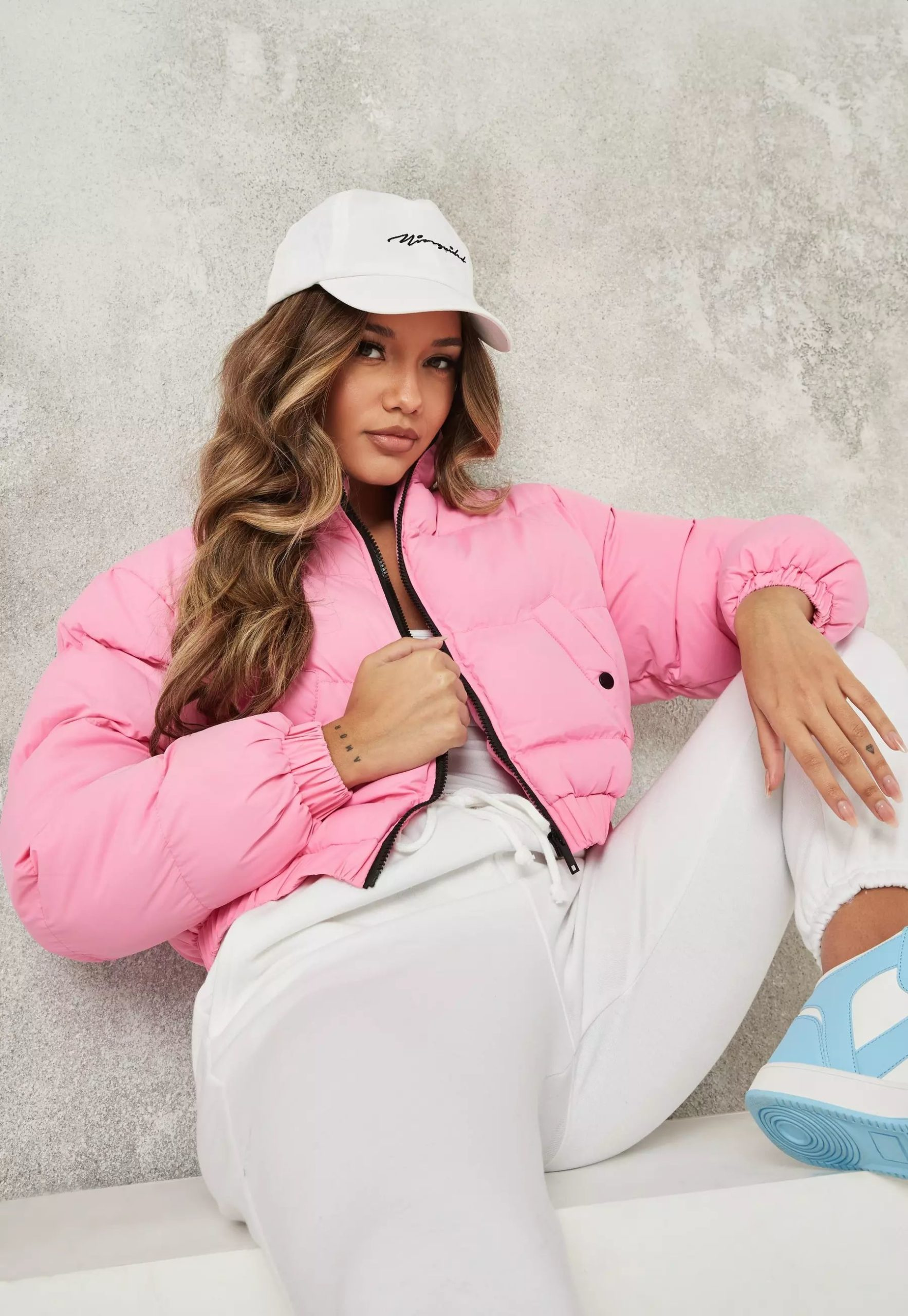 pink cropped high neck puffer jacket