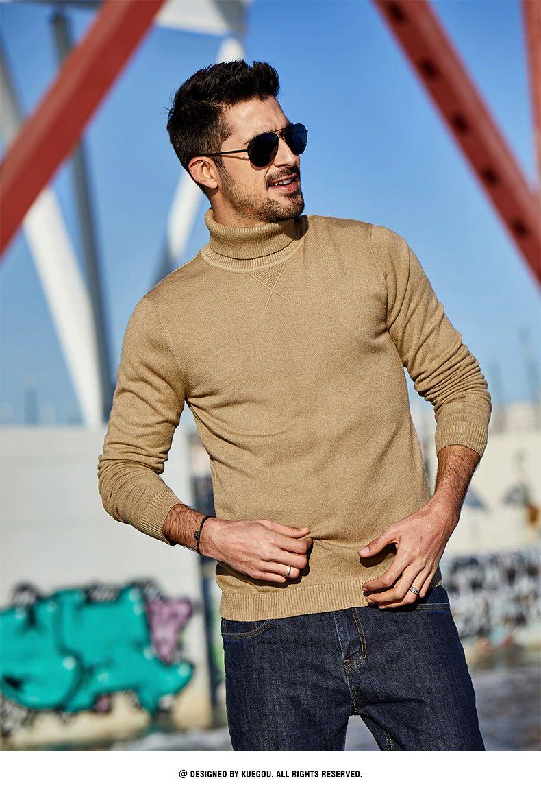 Turtleneck Sweater Men Pullover Casual Slim Jumper For Male Wear