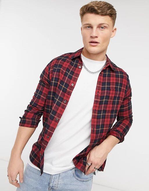 Burton Menswear long sleeve check shirt in red tartan