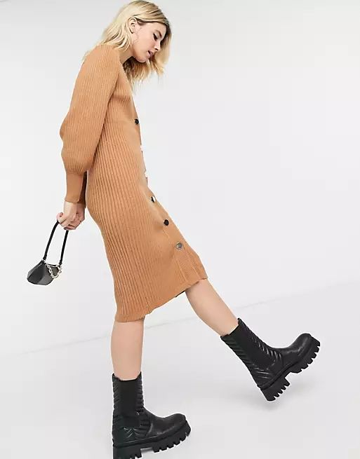 button front knitted dress in brown