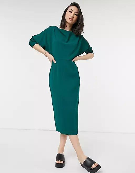 fallen shoulder midi pencil dress in forest green