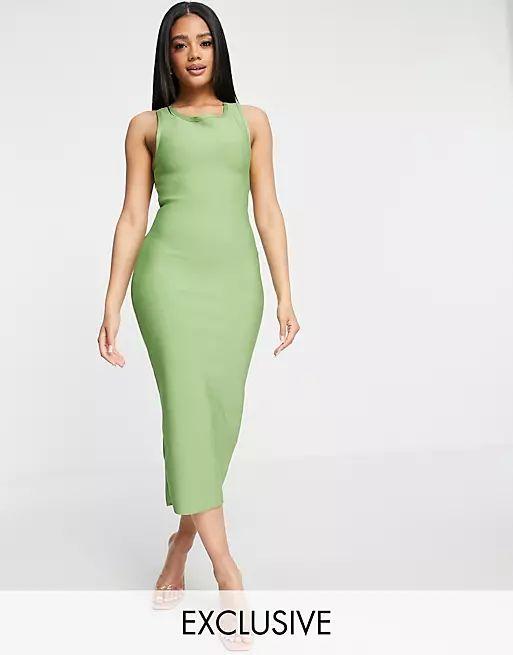cross back pencil midi dress in green