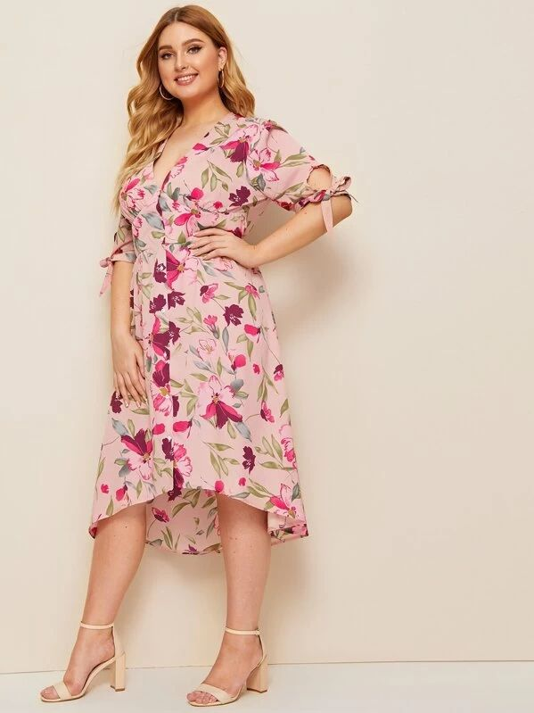 Button Front Floral Print Tied Cuff Midi Dress