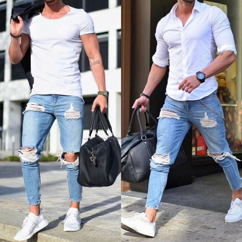Zipper Skinny Jeans For Men Plus Size Jeans