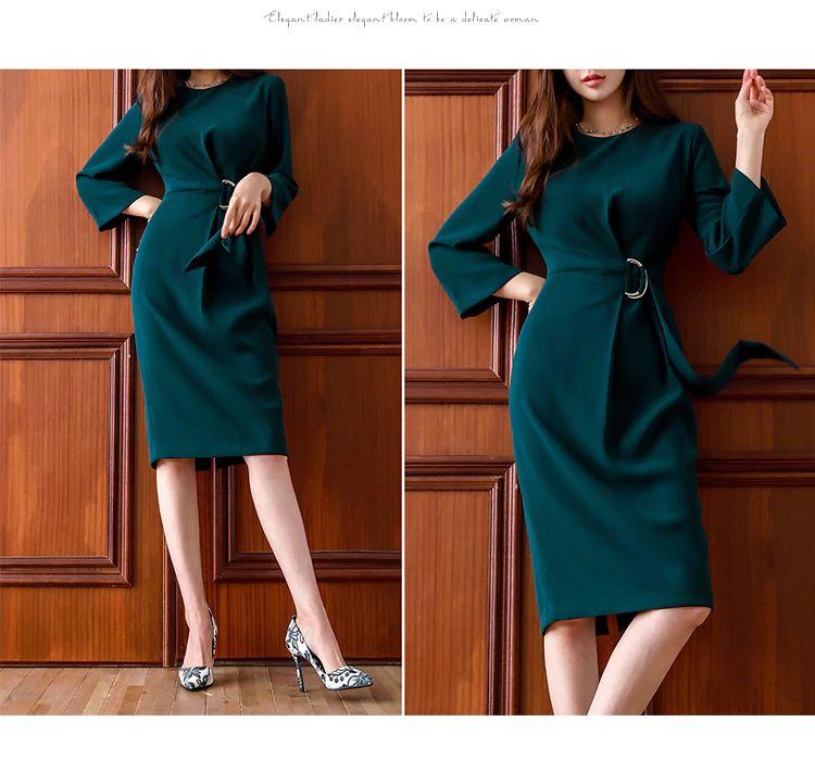 Pencil Dress Green O Neck Draped Belts Midi Length