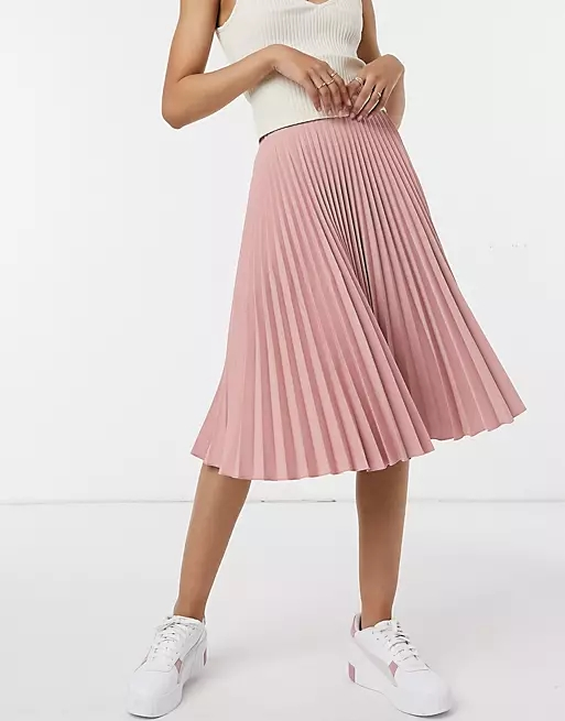 Closet London pleated midi skirt in blush pink