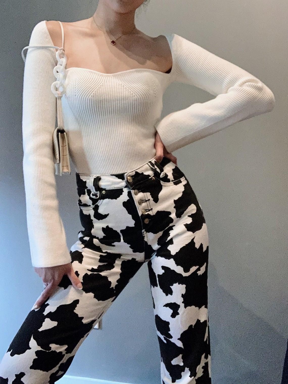 Cow Print High-Waist Jeans