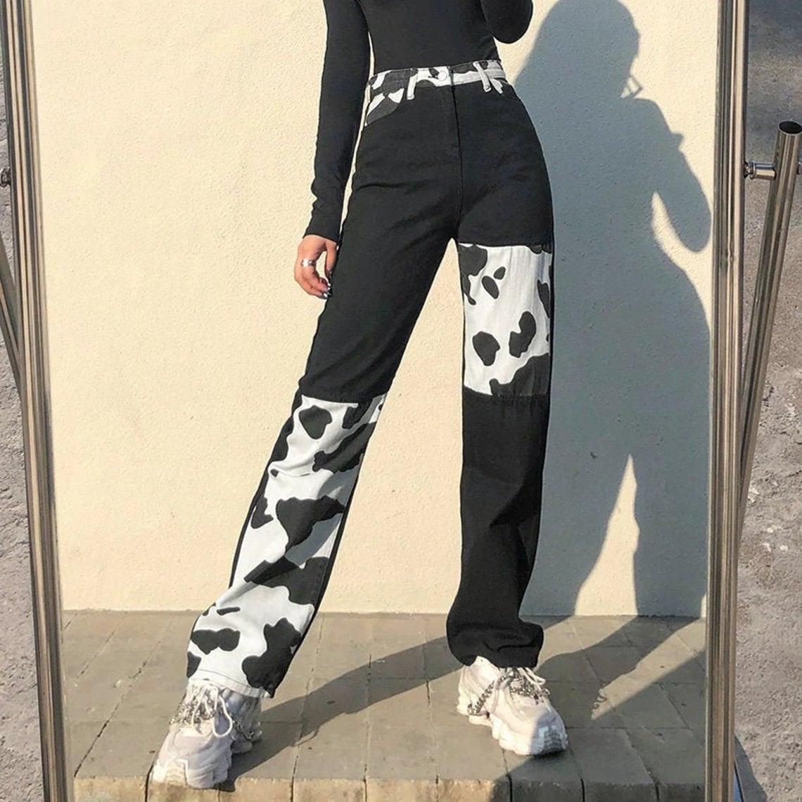 Cow Print Y2K Patchwork High Waist Jeans Straight Slim Pants Vintage Trousers Y2K Aesthetic
