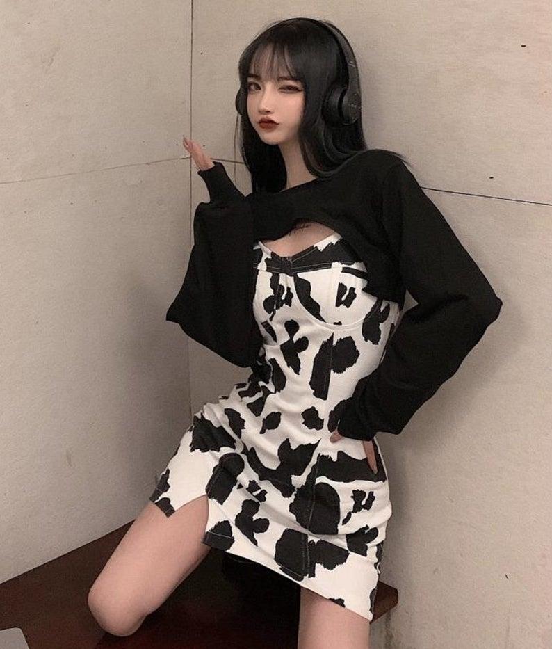 Cow pattern suspender dress