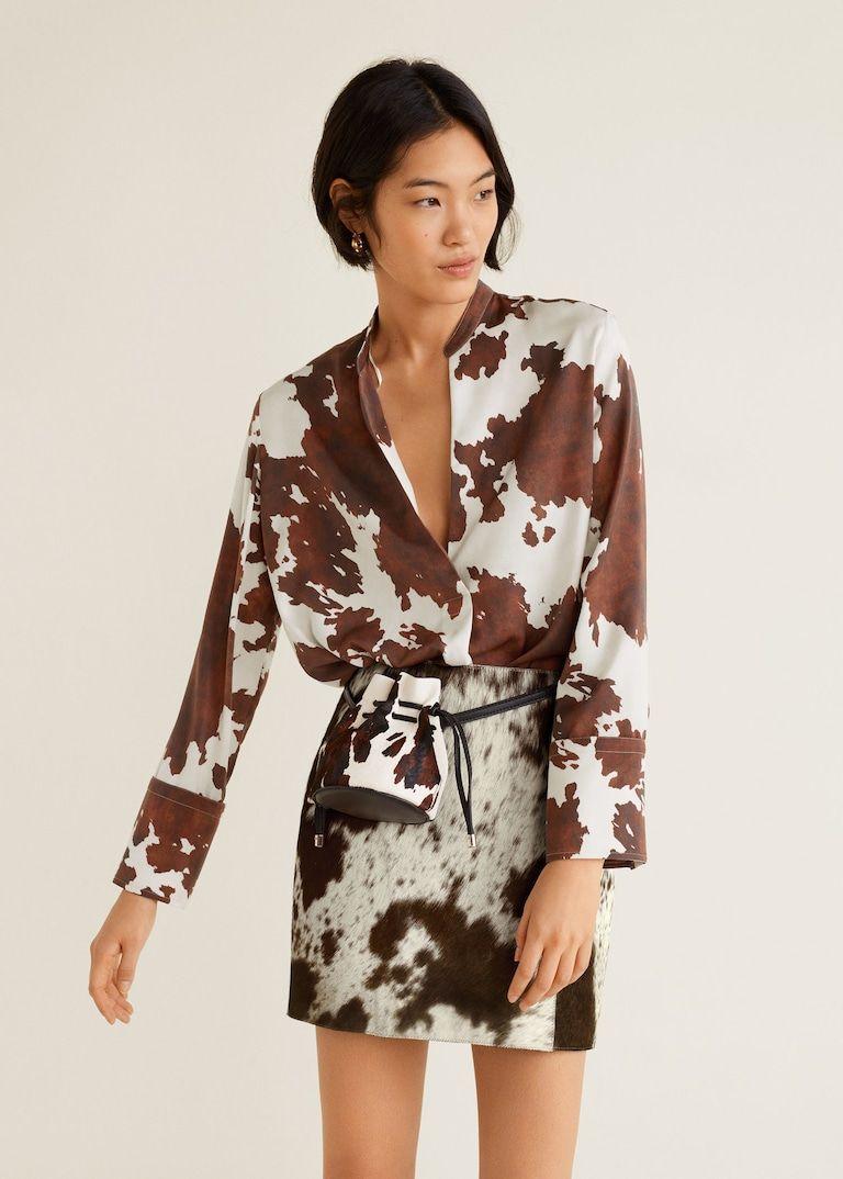 Cow print blouse