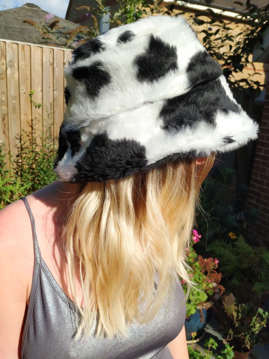 Cow print fluffy bucket hat