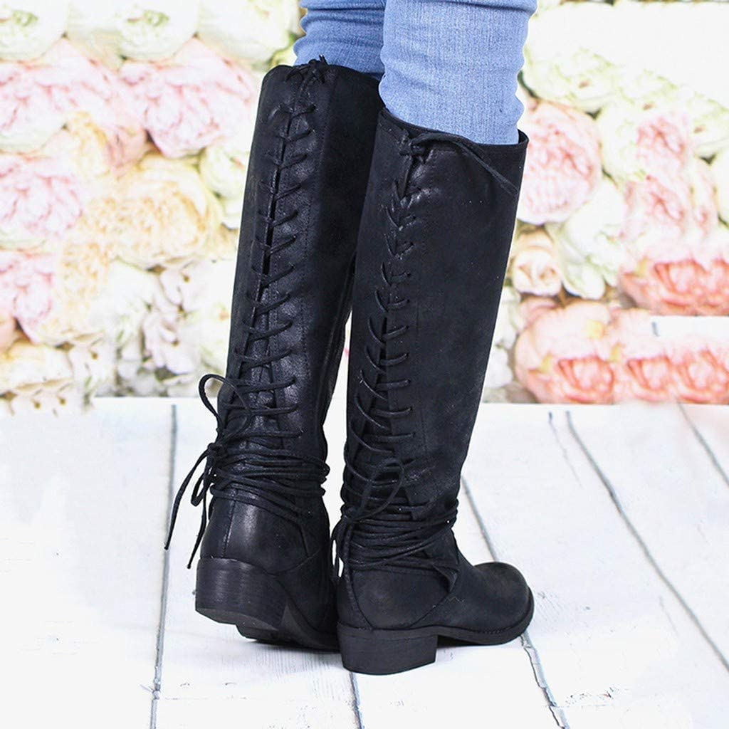 Cowboy Boots Women Knee High Boots Wide Calf Flat Lace Up Boots Retro Leather Country Boots Knee Length Boots