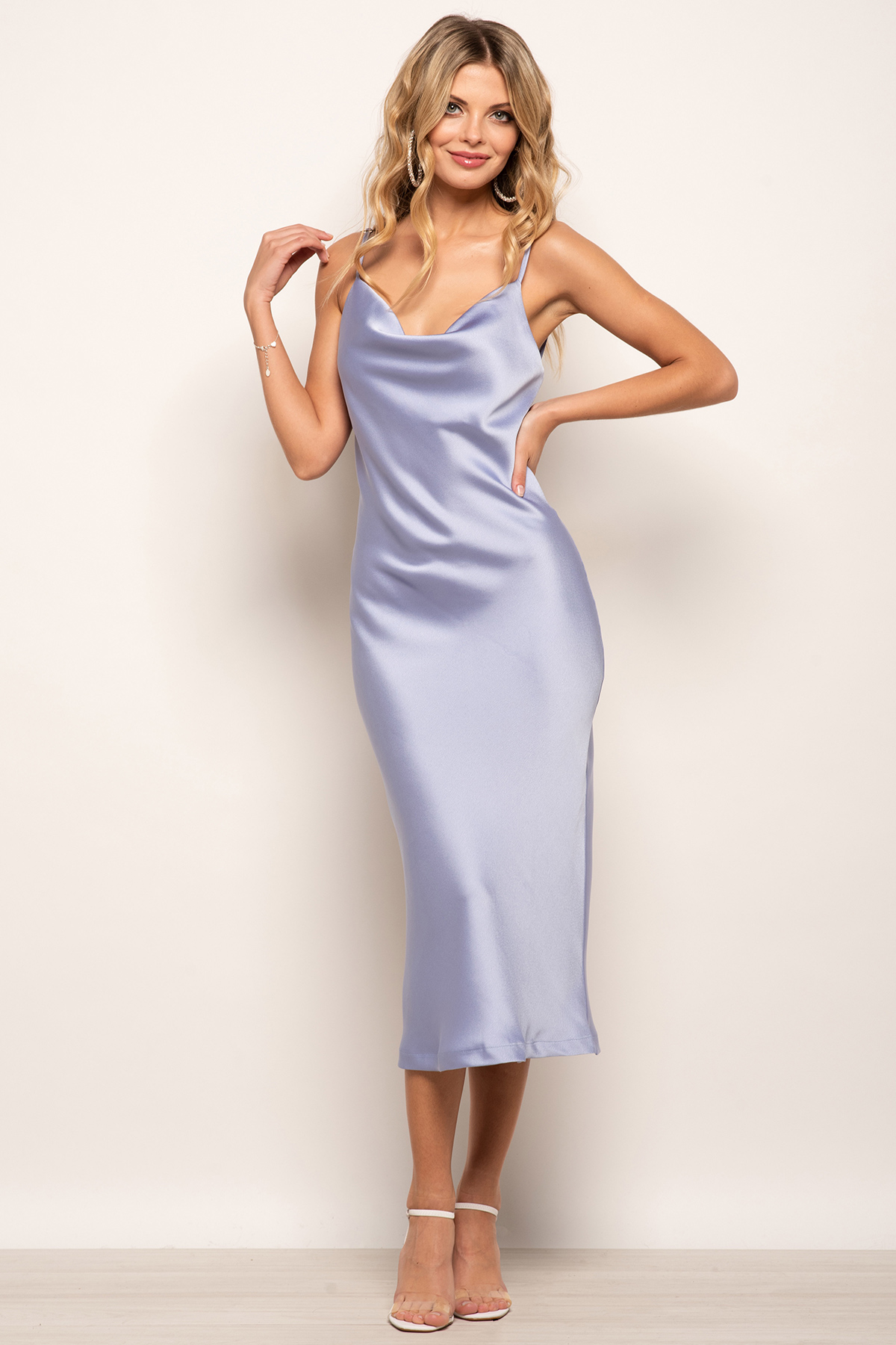 Cowl Neck Satin Slip Cami Midi Dress Blue