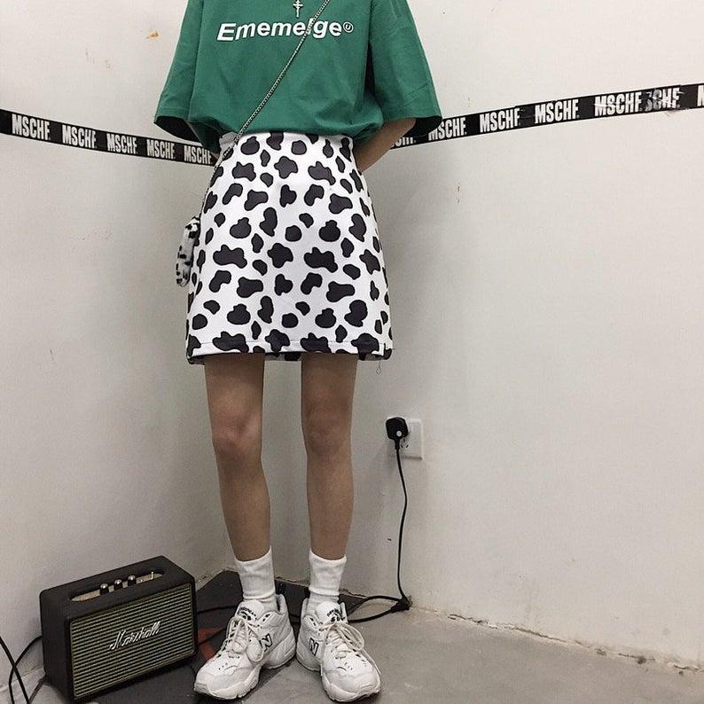 Cute Harajuku Cow Print Skirt