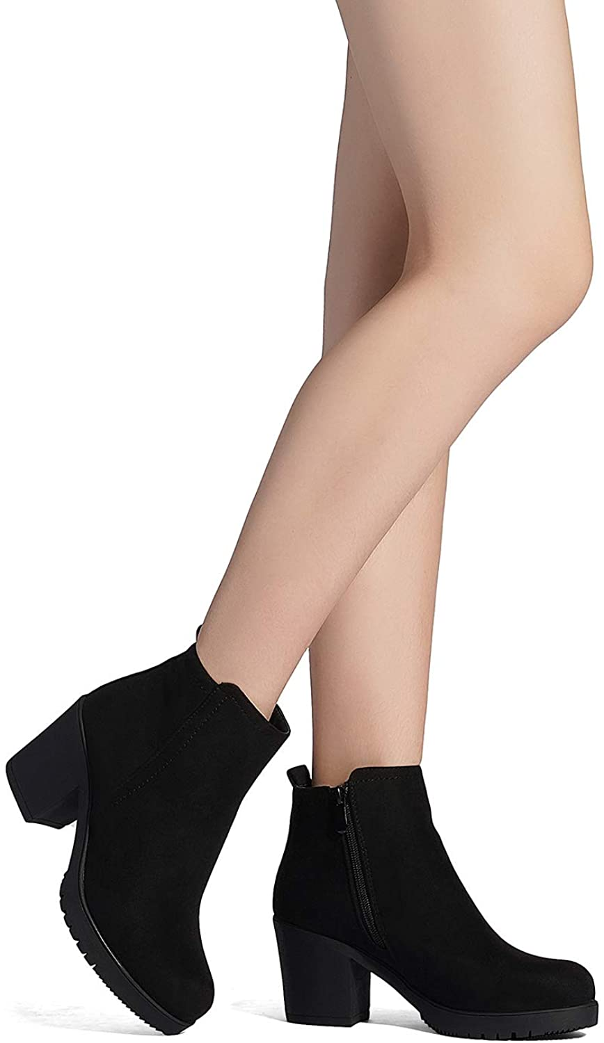 DREAM PAIRS Women's Chunky Zipper Suede Ankle Boots