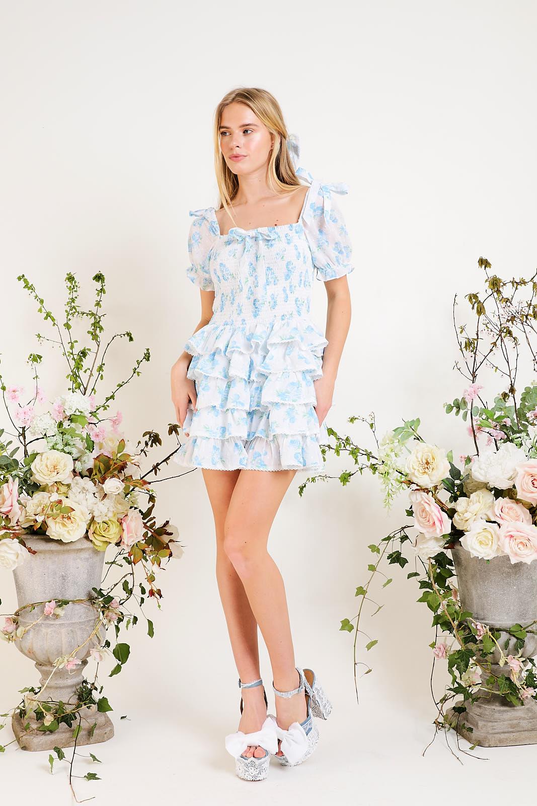 Darcy - Smocked mini dress in blue wildflower
