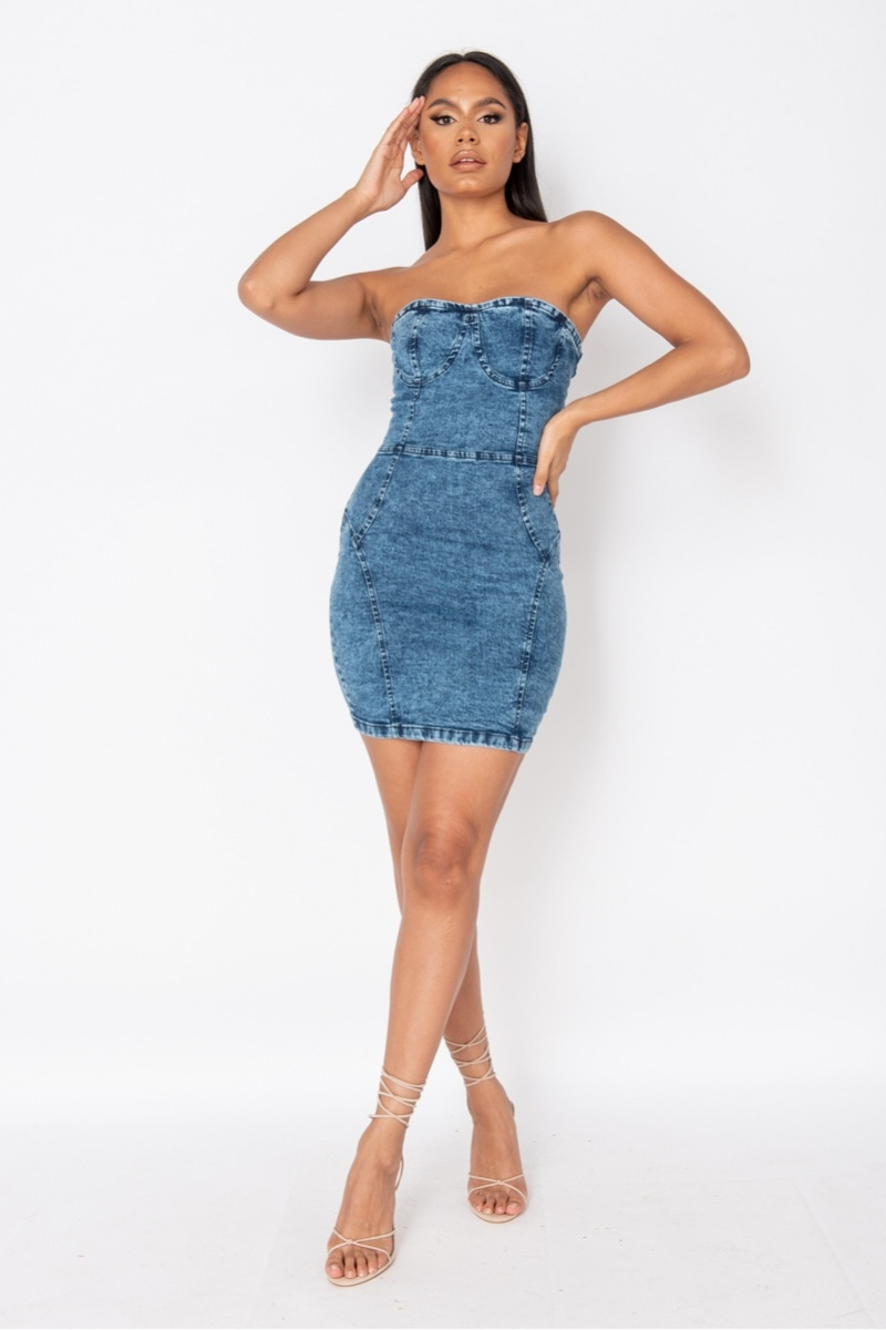 Dark Blue Acid Strapless Bodycon Denim Dress