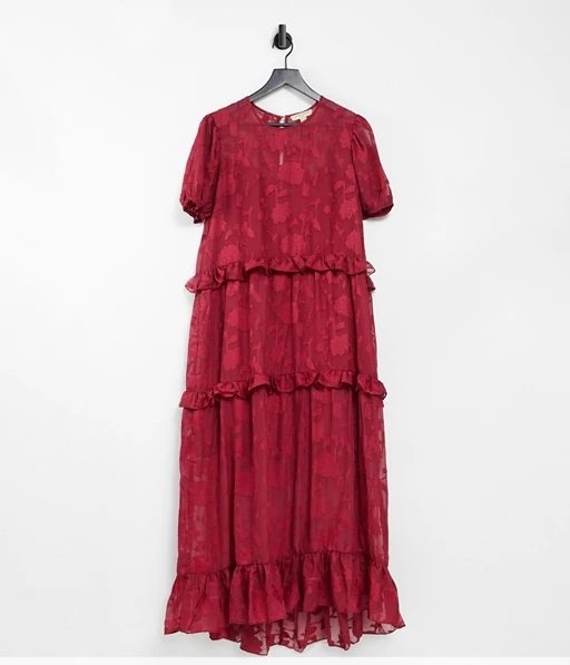 Dark Pink Plus smock midi dress with puff sleeves and frill details in burgundy red