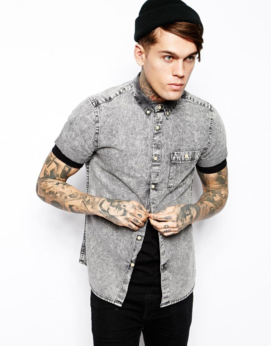 Denim Shirt In Short Sleeve With Black Acid Wash