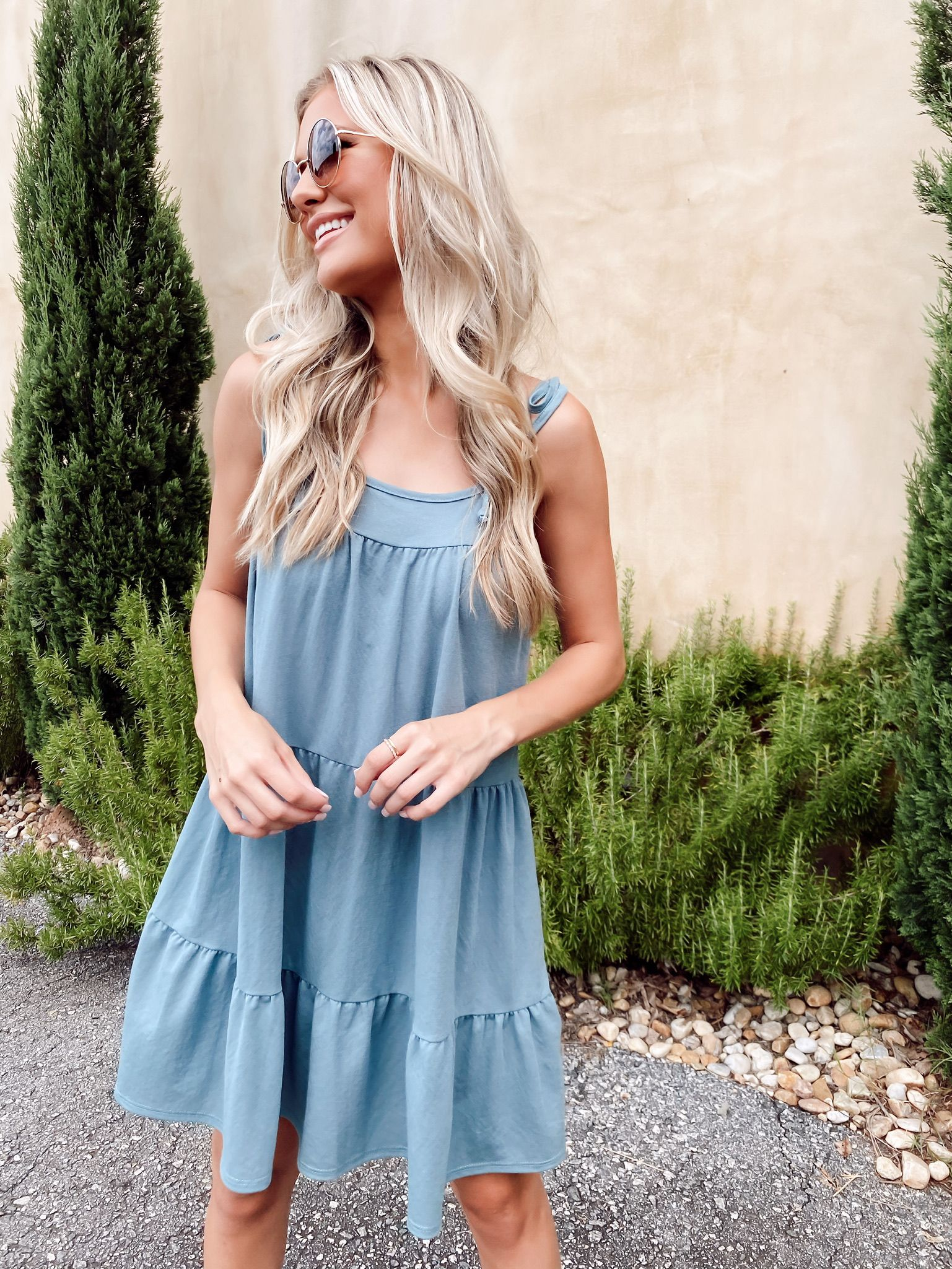 Dusty Blue Tiered Mini Dress