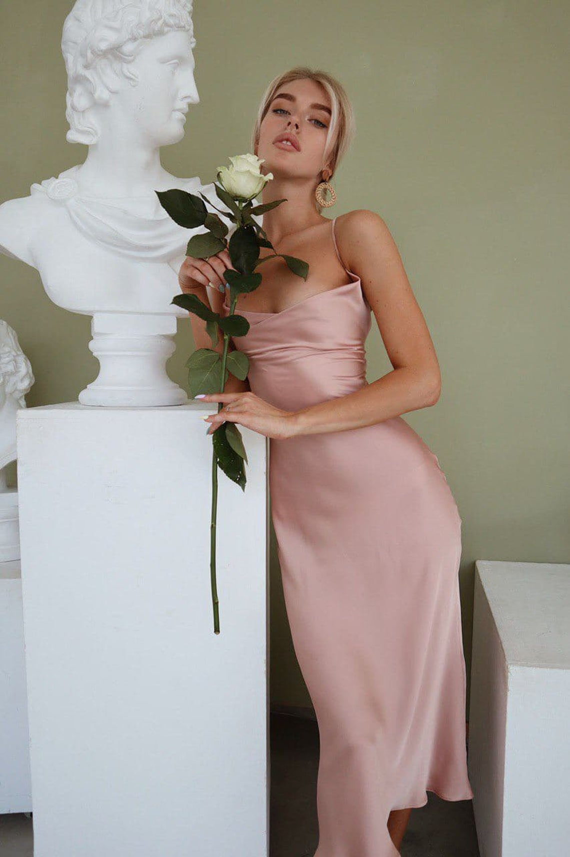 Dusty Pink Silk Slip Dress with Cowl Neck for Special Occasions, Backless Pink Midi Slip Dress, Sheath Dress for Bridesmaids, Birthday Girls