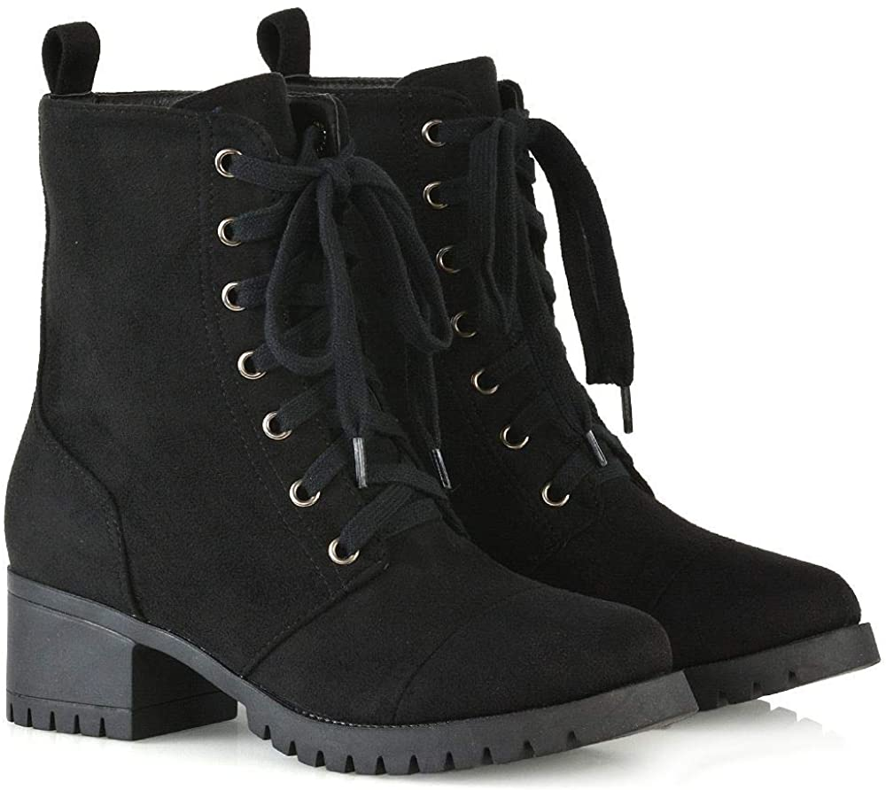 ESSEX GLAM Womens Low Heel Platform Ankle Boots Ladies Cleated Sole Combat Lace Up Shoes Size 3-8