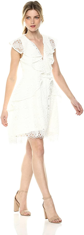 Elliatt Women's Apparel Interlude Sleeveless V Neck Ruffle Lace Mini Dress