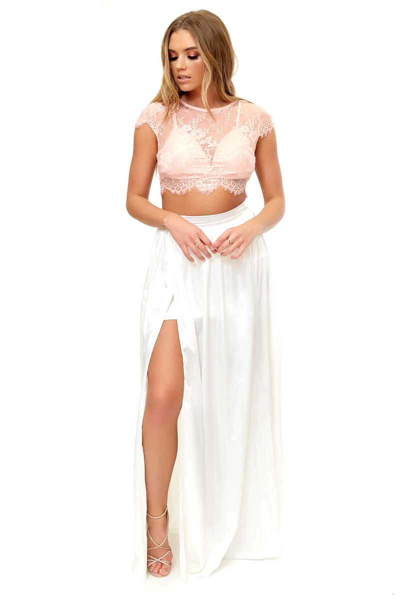 Emmilee - White Satin Split Maxi Skirt