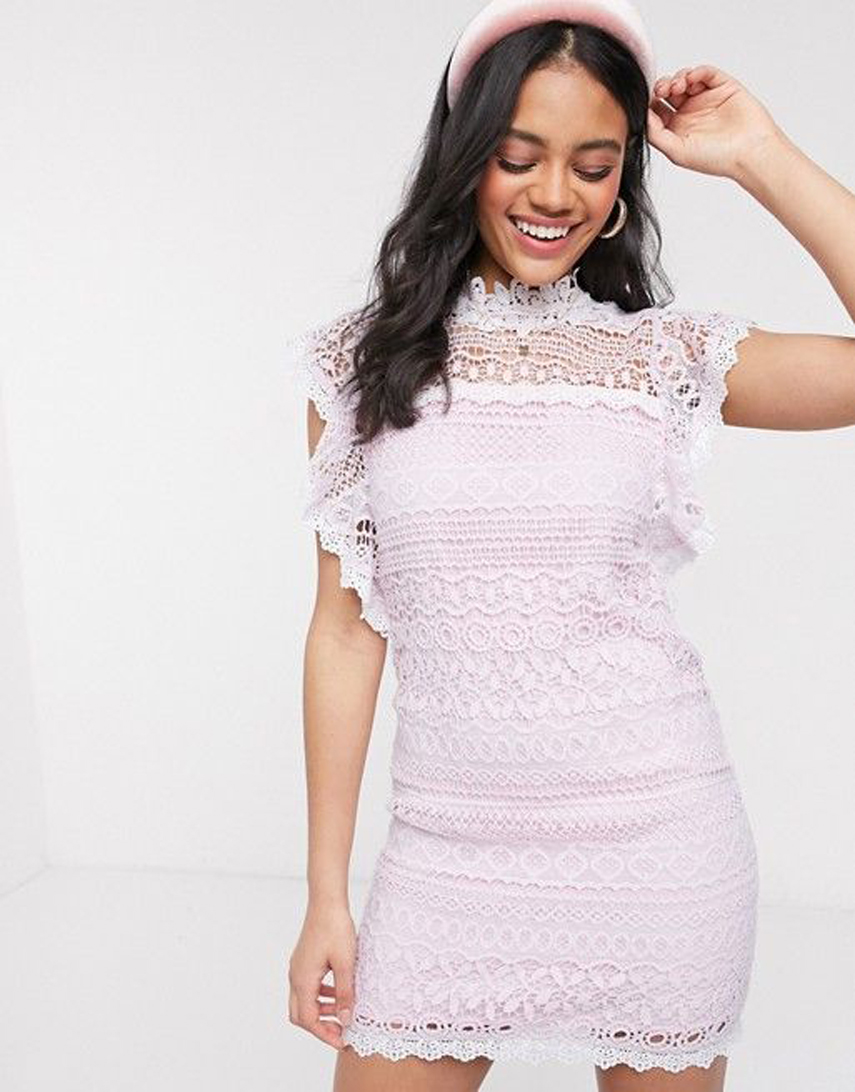 En Creme frill sleeve lace mini dress in pink