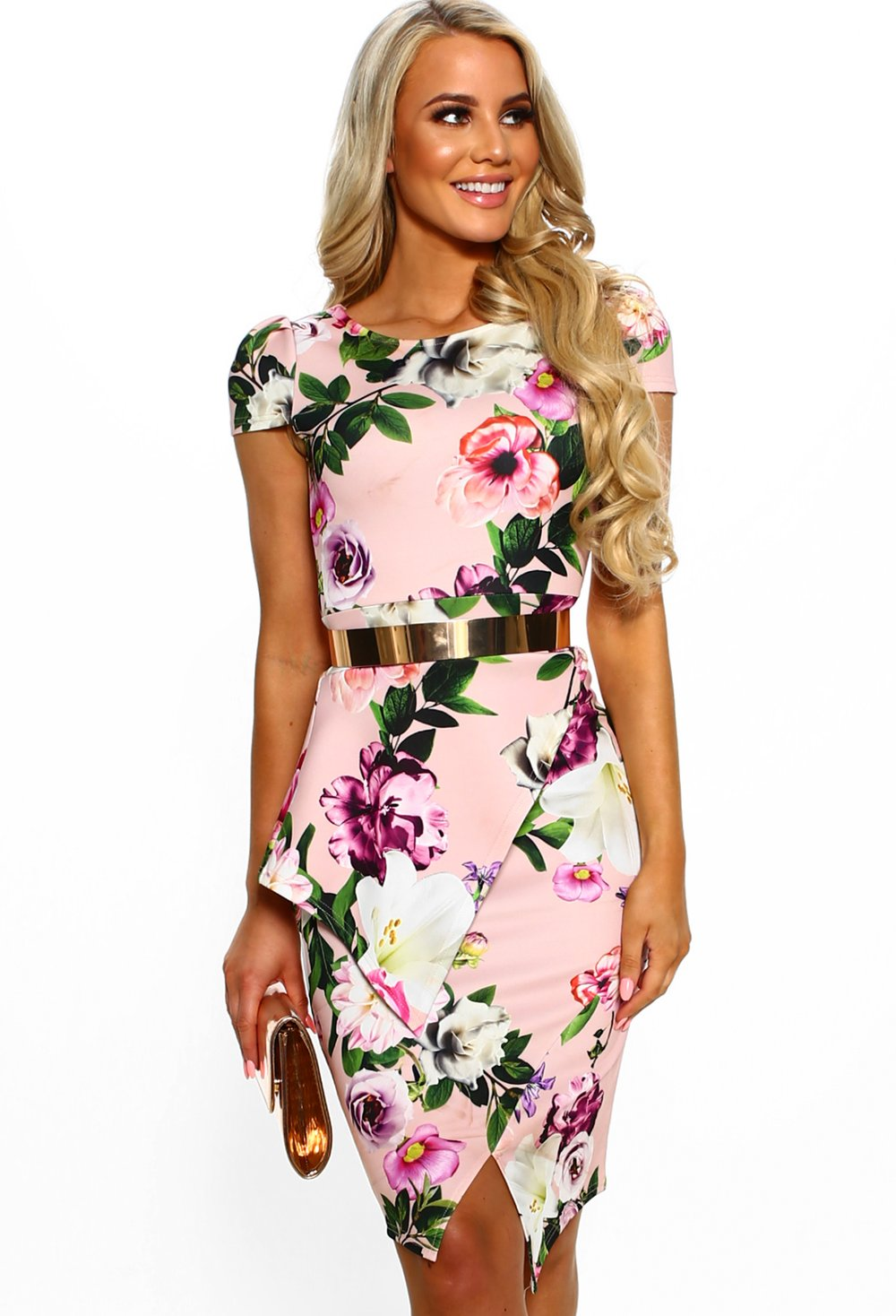 Engagement Pink Floral Peplum Bodycon Midi Dress