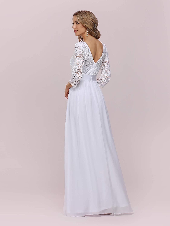 Ever-Pretty Women's Round Neck 3/4 Sleeves A Line Empire Waist Lace Elegant Maxi Bridesmaid Dresses 07412