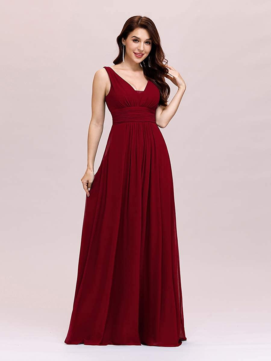 Ever-Pretty Women's Sleeveless V Neck A Line Empire Waist Chiffon Long Evening Party Dress