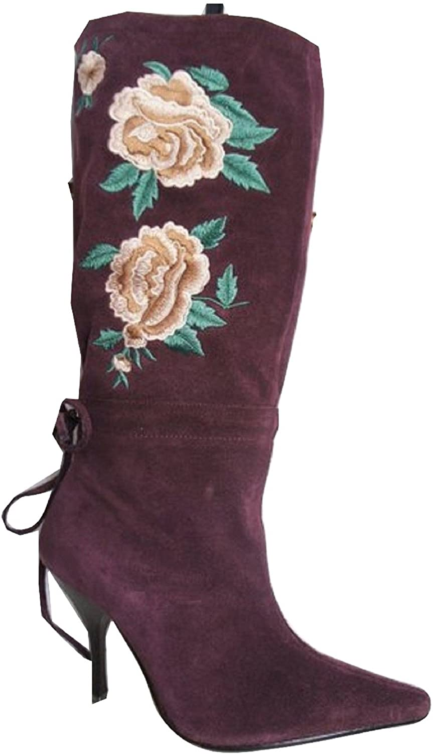 "FAITH""""ROSE"" Real Suede Leather Embroidered Mid Calf Boots"